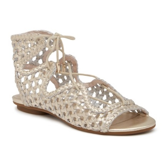 Joie Fannie Woven Metallic Leather Lace-Up Sandals wIvJ4